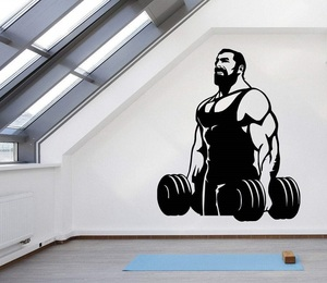Image 1 - Fitness enthusiast exercise fitness vinyl wall stickers Fitness Club youth dormitory bedroom home decoration wall decals 2GY2