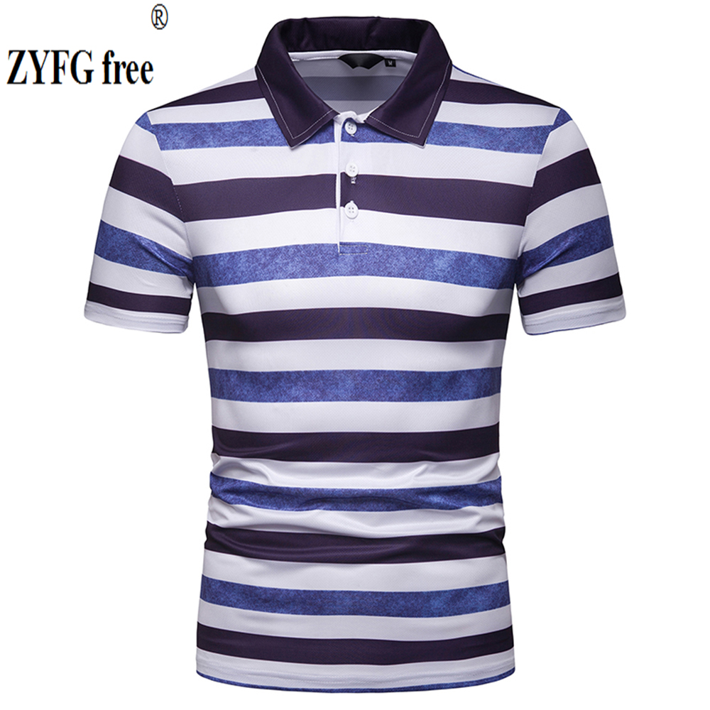 New pop 2019 summer top men's   POLO   shirts striped turn-down collar short sleeve   polo   shirts casual blouse stright slim tops
