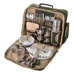 Роскошная сумка для пикника, Уличное оборудование, набор многофункциональных столовых приборов для четырех человек, сохраняющая температу...