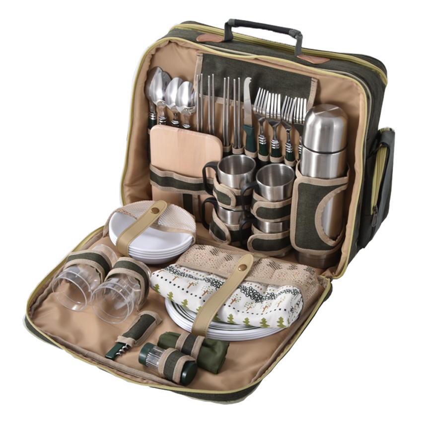 Luxury Four Picnic Bag Outdoor Equipment Four People Multi-function Cutlery Set Keep Temperature Package Food Grade Insulation