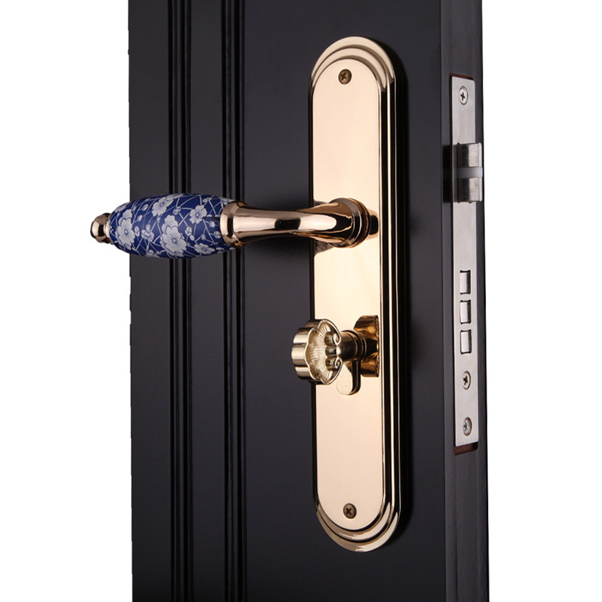 Blue and white porcelain indoor panel handle lock golden bedroon bookroon kitchen solid wooden door lock modern fashion european fashion ivory white bedroon door handles antique bronze mute wooden door lock gold indoor locks modern simple