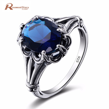 Edward Antique Jewelry Created Sapphire Stone Ring 925 Sterling Silver Women Vintage Ring Hollow Out Engraved Flower Jewelry