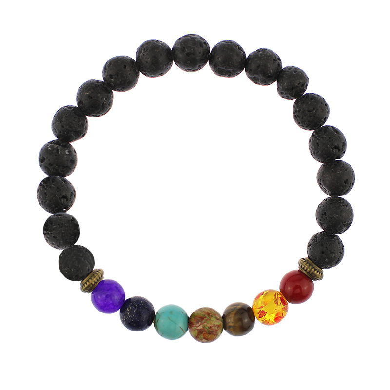 2017 hot Natural Black Lava Stone Bracelets 7 Reiki Chakra Healing Balance Beads Bracelet for Men Women Stretch Yoga Jewelry