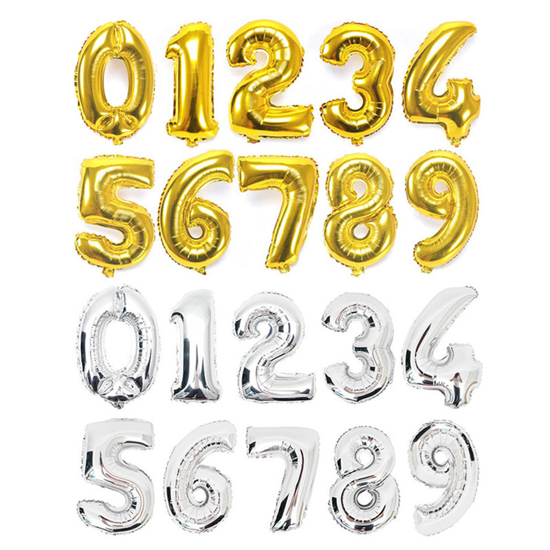 40 inch Gold Silver Foil Number Balloons Helium Air Inflable Digital Large Balloon Wedding Birthday Party Decoration Supplies