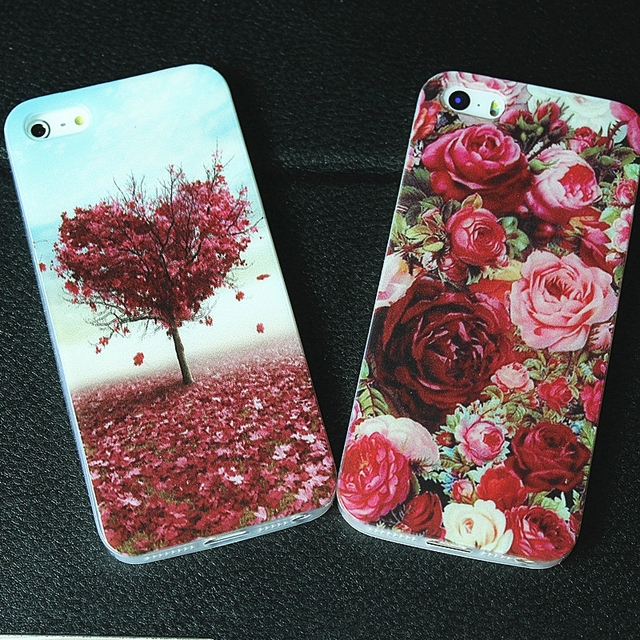 Pour l'iphone 6 s cas Nouveau-Né de mode romance belle fleurs couverture impression cas Pour Téléphone 4 4S 5 5S SE 6 6 S téléphone cas couverture