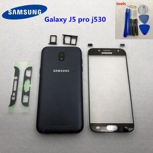 Image 1 - สำหรับSamsung Galaxy J5 2017 J5 Pro J530Fเต็มรูปแบบแบตเตอรี่กลางปกหลังJ530 SM J530F LCDด้านหน้าเลนส์ + เครื่องมือ