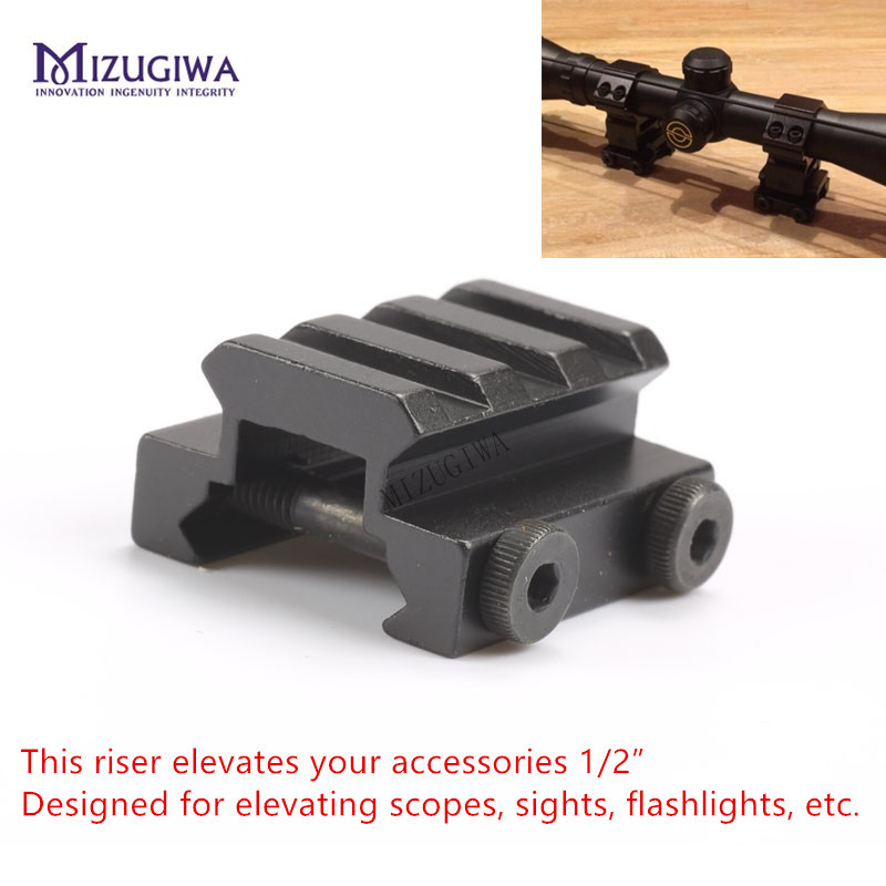 "MIZUGIWA 1/2"" 3 Slot 2 Bolts Low Riser WEAVER PICATINNY Scope Mount Fit 20mm Rail Elevate Scope Laser Sight Flashlights"
