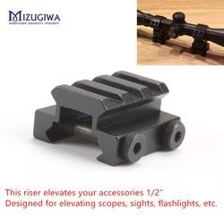 """MIZUGIWA 1/2 """"3 gniazdo 2 śruby Low Riser WEAVER PICATINNY zakres góra fit 20mm Rail Elevate Scope Laser Sight latarki w Elementy mocujące i akcesoria do mikroskopu od Sport i rozrywka na"""