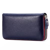 Fashion Women Wallet Lichee Pattern Genuine Cow Leather Clutch Wallets Purses Money Organizer Bag Pouch Card