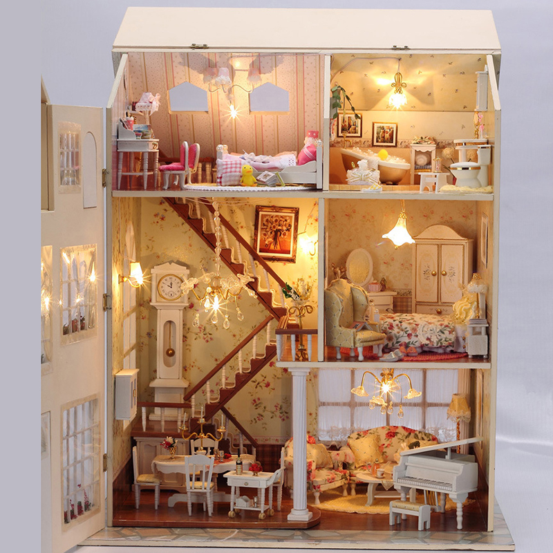цены Furniture DIY Doll House Wodden Miniatura Doll Houses Furniture Kit Puzzle Handmade Dollhouse Toys For Children girl gift 13812