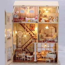 Furniture DIY Doll House Wodden Miniatura Doll Houses Furniture Kit Puzzle Handmade Dollhouse Toys For Children girl gift 13812