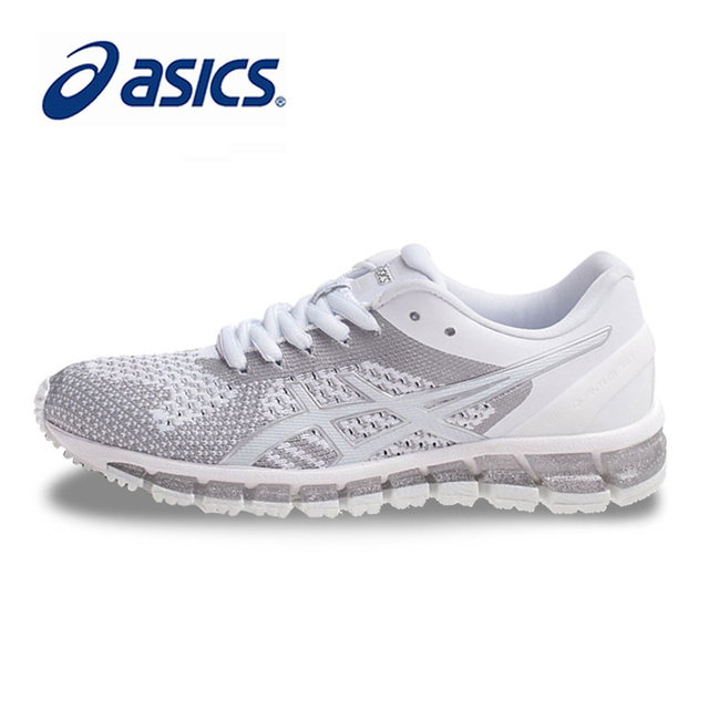 new styles c03ca 61b0a Original ASICS GEL-QUANTUM 360 KNIT Women Stability Running Shoes White  Sports Shoes Sneakers Outdoor