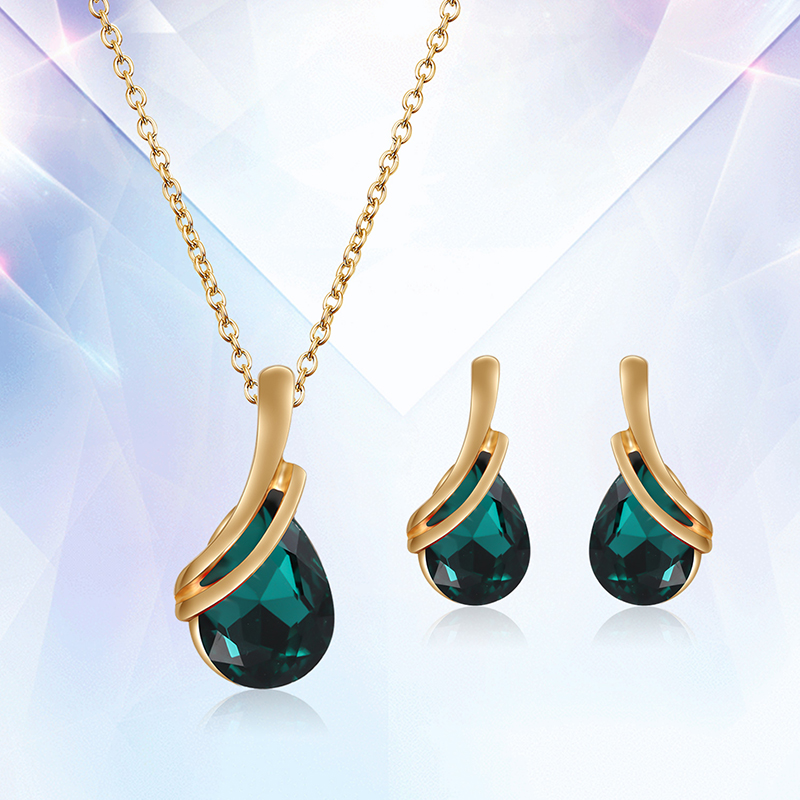 Water Drop Crystal Jewerly Sets For Women Blue Green Stones party Jewelry african necklace earrings Wedding jewellery set
