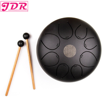 JDR Steel Tongue Drum Tank 8 inch pentatonic scale Hank with Rubber Musical Mallet and Travel Bag Matte Black