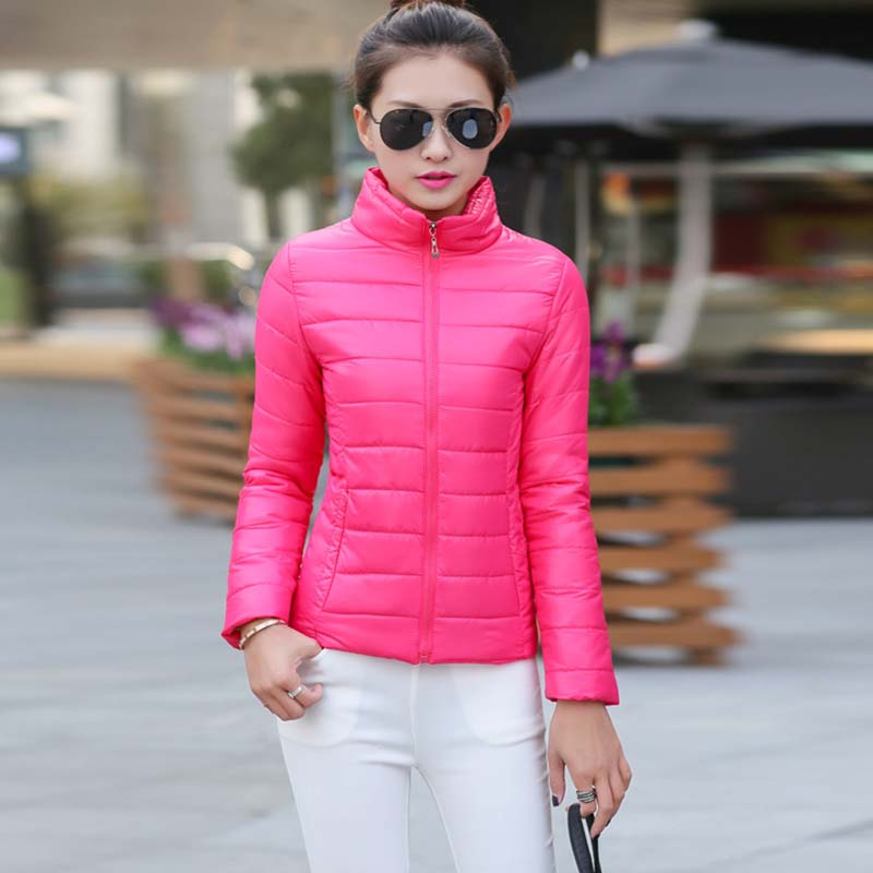 Women Short Bomber Jacket 2019 Spring Autumn Winter Female Cotton-padded Parka Stand Collar Ladies Coat Jackets Red Black Yellow