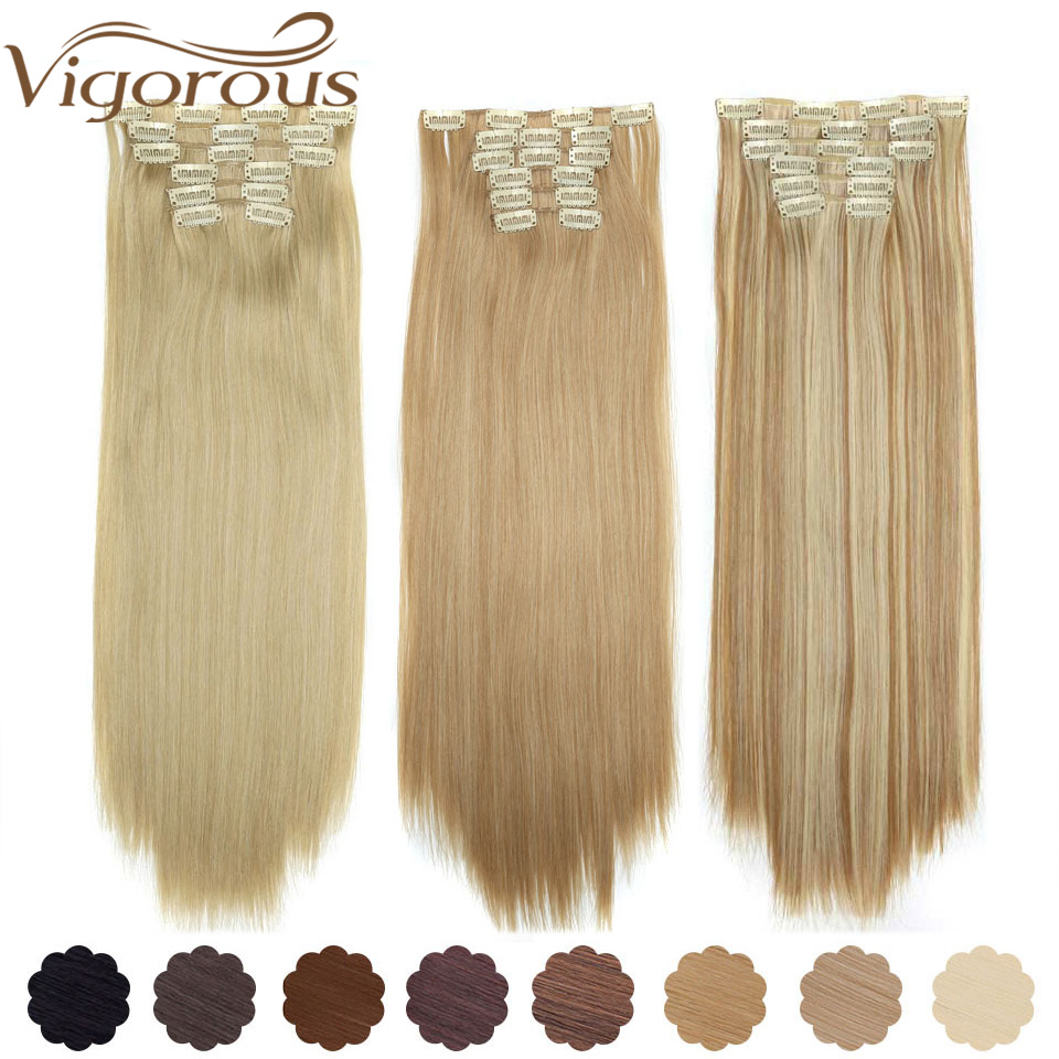 Vigorous 6Pcs Long 22 Inches Striaght Real Thick Clip In On Hair Extensions Natural Synthetic Hairpieces For Women