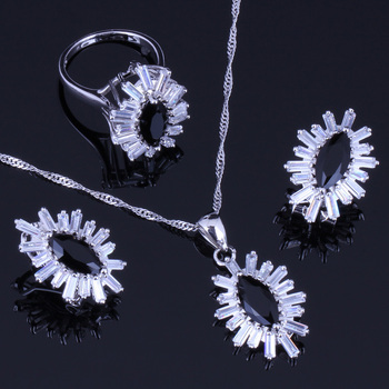 Romantico Nero Cubic Zirconia Bianco CZ 925 Sterling Set gioielli d
