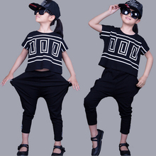 Children Clothing Sets 2017 new Girls Sports Suit Summer Bat Short Sleeve Shirt+Harem Pants Kids Girl Clothes Suits 2pcs/set
