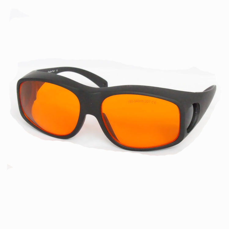 laser safety glasses for190-540nm O.D 4+ CE certified for 266nm,445nm, 473nm, 532nm high power laser (>500mw) ce ep 1a 190 540