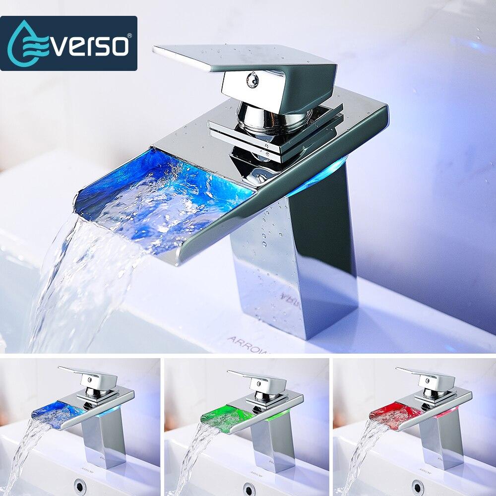 EVERSO светодиодный кран Ванная комната раковина кран светодиодный свет водопроводной воды бассейна кран