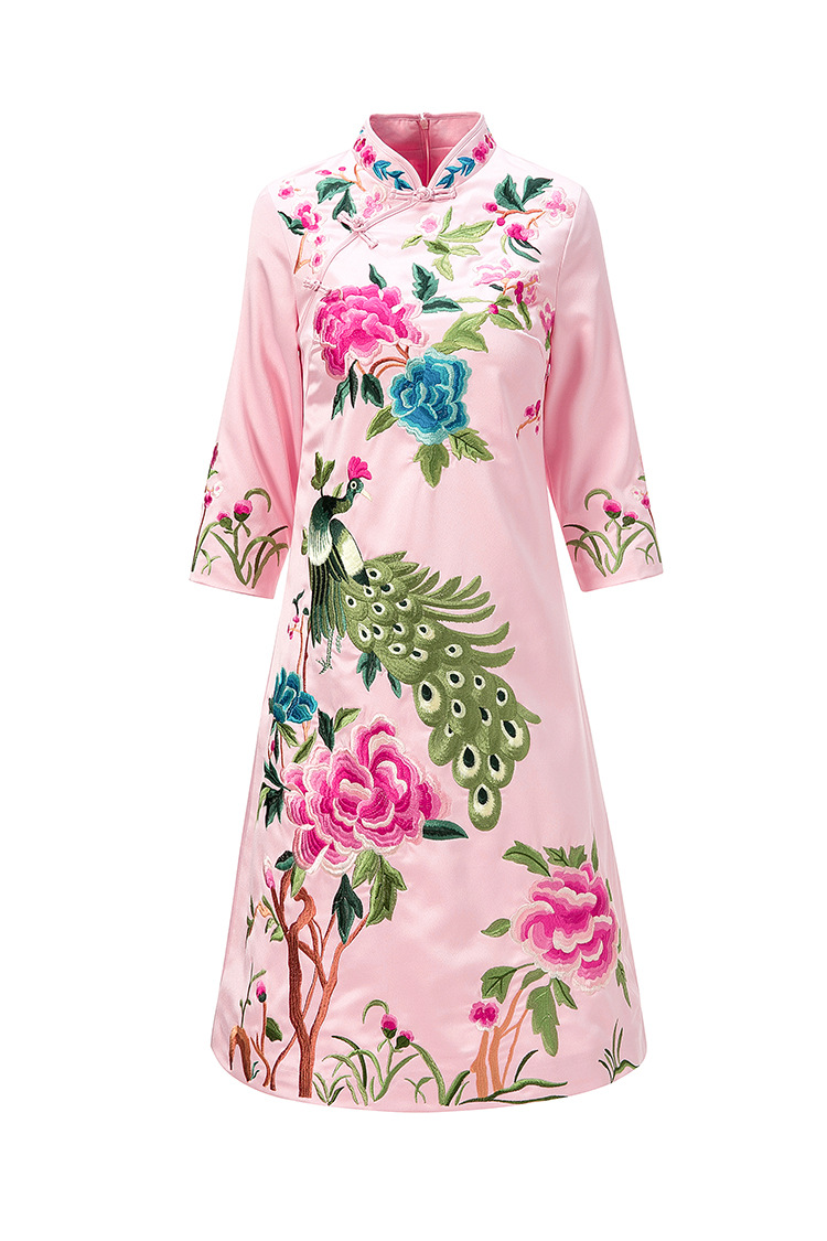 Style Une Version Phoenix Chinois Livraison Originale red Femmes d'été Grande Brodé Printemps pink Blue Fleur Gratuite Robe Pour Taille Conception x4wRRqgB8