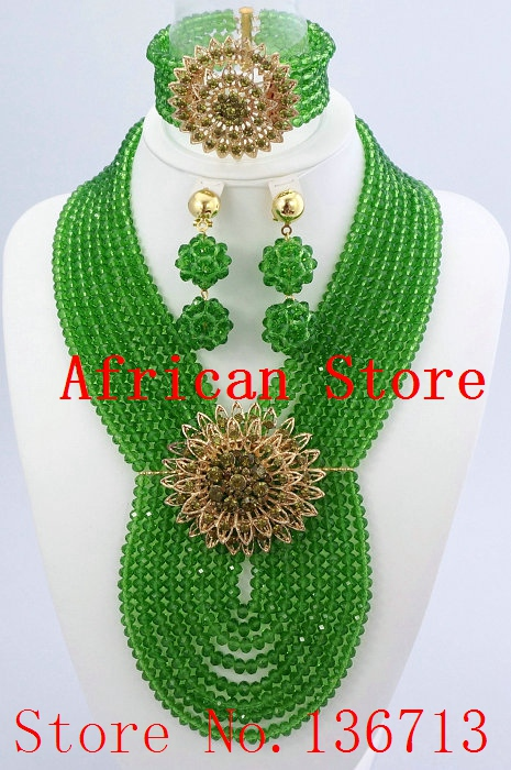 African Jewelry Set Fashion Accessories Glass Beads Crystal Necklaces Matching Drop Earrings Jewelry Sets Women Wedding L026African Jewelry Set Fashion Accessories Glass Beads Crystal Necklaces Matching Drop Earrings Jewelry Sets Women Wedding L026