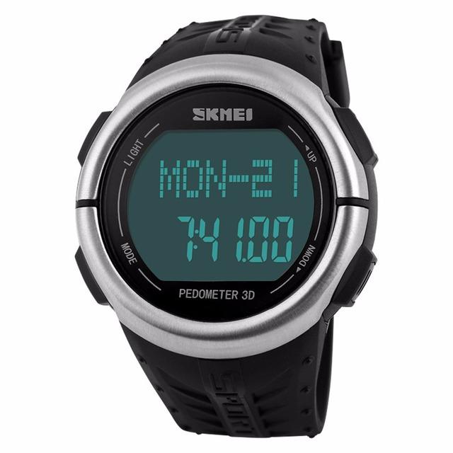 Skmei relógio de freqüência cardíaca pedômetro passo walking smart watch 50 m à prova d' água esportes eletrônicos relógio inteligente wearable dispositivos de relogios