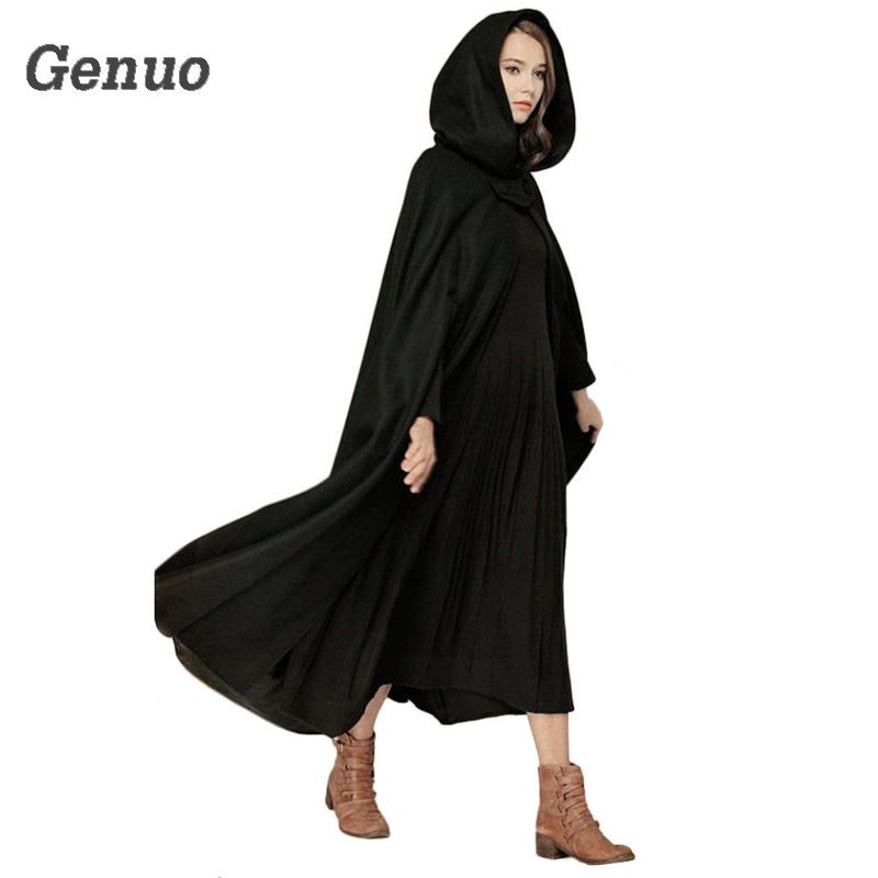 c3032b1adbe Medieval Winter Cloak Hooded Coat Thin Women Vintage Gothic Cape Poncho Coat  Cardigans Long Trench Overcoat 2018 Casaco Feminin