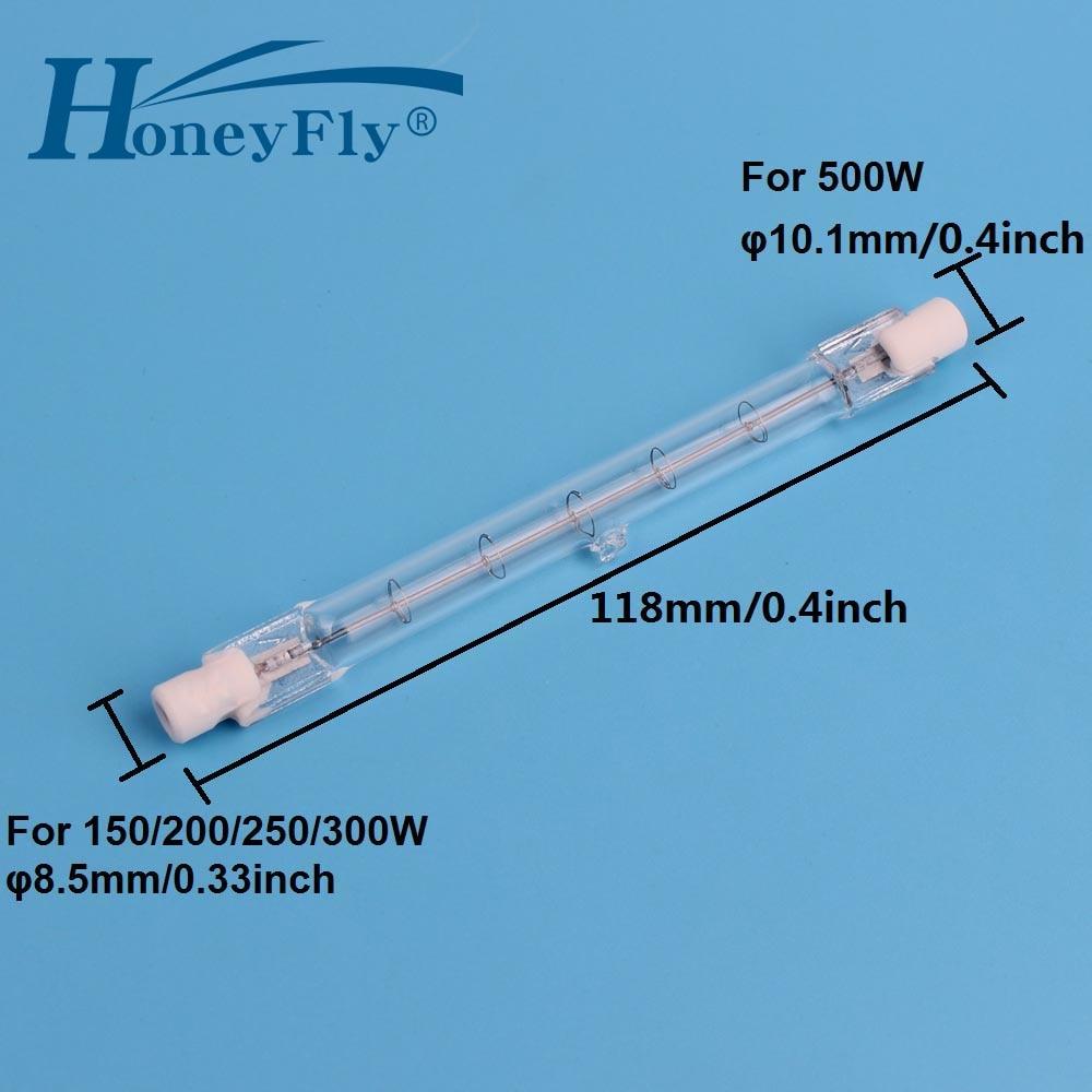HoneyFly 1pc 118mm Halogen Lamp Bulbs J118 220V/110V 150W 200W 250W 300W 500W R7S Double Ended Filament Flood Lights Quartz Tube|Halogen Bulbs| |  - title=