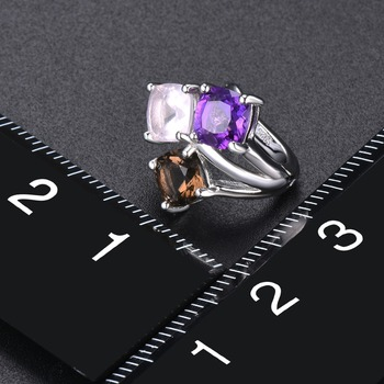 Hutang Colorful Gemstone Hoop Earrings 925 Sterling Silver Natural Amethyst Rose Smoky Quartz English Lock Jewelry for Women New 2
