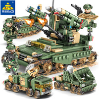 4in1 Army V2 Anti missile system Building Blocks Compatible legoed Military trucks WW2 weapon tank soldier figures bricks Toys