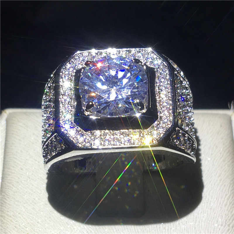 Choucong יוקרה זכר טבעת גדול 3ct ברור 5A זירקון cz 925 כסף סטרלינג אירוסין נישואים טבעות לגברים בסדר תכשיטים