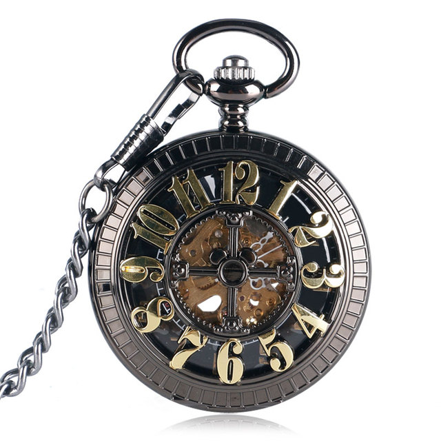 Vintage Skeleton Elegant Pocket Watch Steampunk Automatic Mechanical Black Fob C