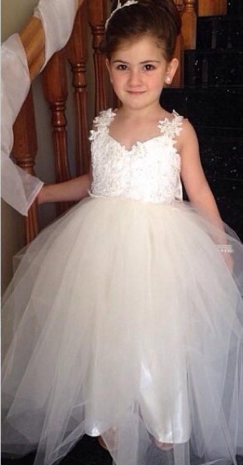 2015 Flower Girls Dresses with Straps Sweetheart Wedding Bridal ...