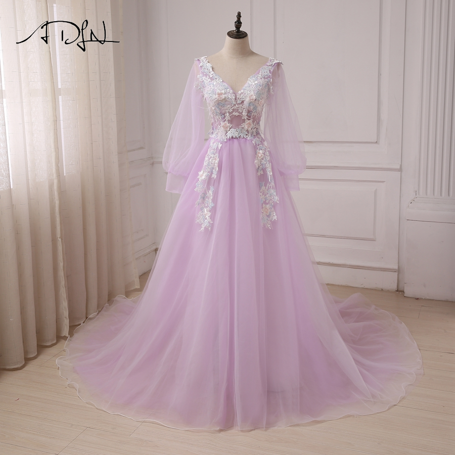ADLN Long Sleeve   Prom     Dresses   V-Neck Backless Tulle Evening Party   Dress   A-Line Cheap Long   Prom     Dresses