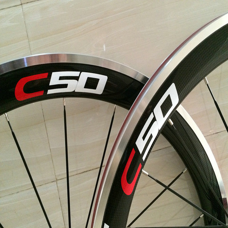 Free shipping glossy finished 700C clincher alloy breaks surface C50 carbon wheels with powerway hubs made in China in stock
