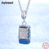 Top Quality Popular Blue Enamel Crystal Necklace 100% 925 Silver Car Pendant Necklaces For Women Best Gift