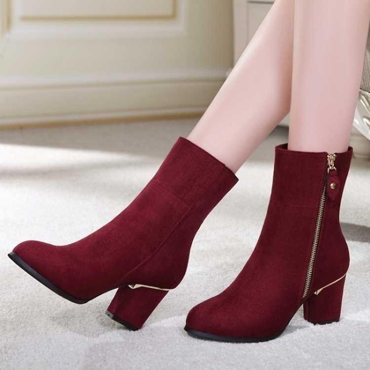 Chaussures Rouge Rond Haute Chaîne Noir Femmes Carré Grande vin Mode Talon Décontracté Taille Concis Bottines Pu Bout Zip Couture D'hiver Chelsea hCstQdrx