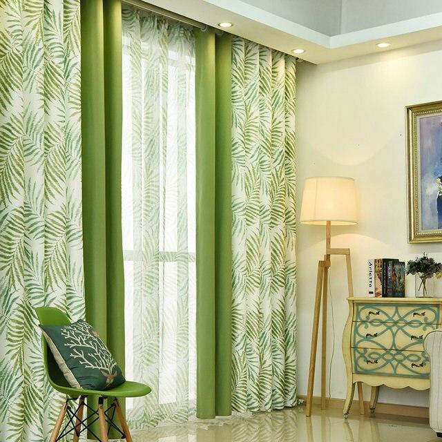 Online Shop Tropical Plam/Fern Leaf Green Blackout Curtains for ...
