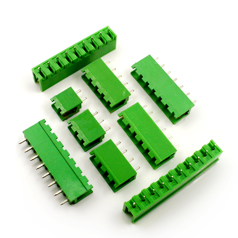 10pcs  Plug-in Terminal Block Connector 5.08MM Open Straight Needle Seat Green Copper Environmental Protection 2P-16P