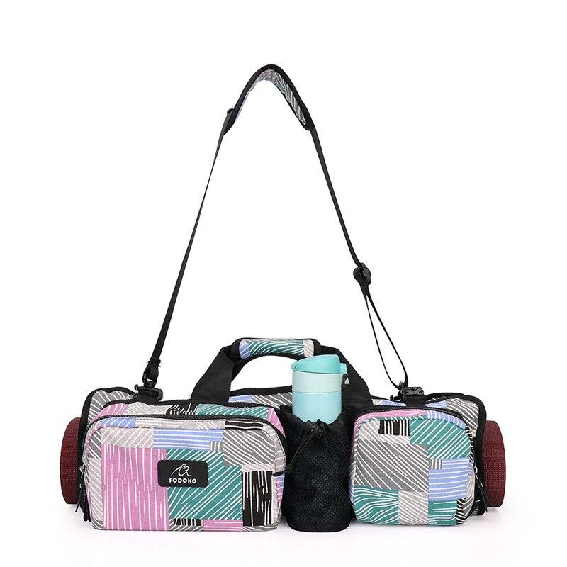 Printed <font><b>Yoga</b></font> Bag Canvas Waterproof Multi-function Storage Bag <font><b>Yoga</b></font> Mat Bag Portable Pilates Dance <font><b>Yoga</b></font> Backpack Fitness Mat Case