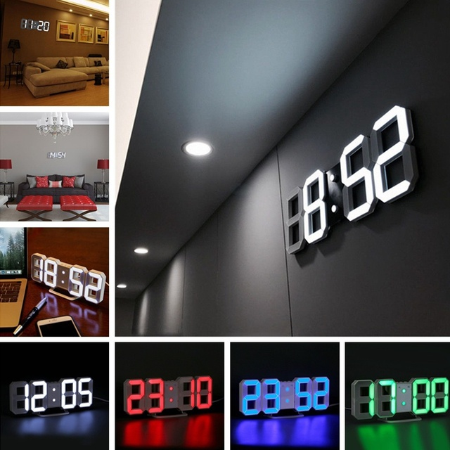 New Fashion 4 Color LED Digital Numbers Wall Clock Table Desk Night Wall Clock Alarm Watch Night Lights Lamp
