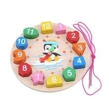 Relógio em forma de quebra-cabeças desenhos animados animal impresso montessori brinquedos miçangas quebra-cabeças de madeira multifunções crianças brinquedos educativos