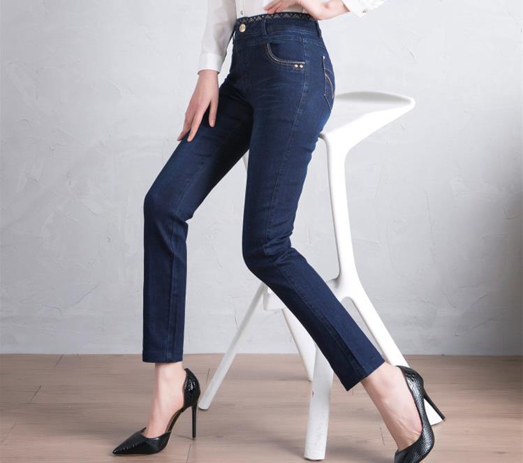 Pies Grueso Mujer Invierno Gran Otoño De Stretch Azul E Además Nuevo Tamaño Vaqueros Pantalones Terciopelo Delgada w4HpgBxxq