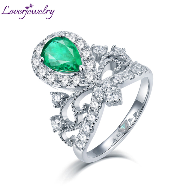 Loverjewelry Diamonds Ring For Women Real 18k White Gold Genuine Emerald Gemstone Engagement Wedding Party Eternal Love Ring