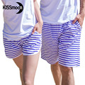 KISSyuer 2 pieces Couple set Navy blue stripes men womens boardshorts lovers beach Couples men women Board shorts KBS1214