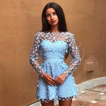 Adyce 2019 New Autumn Women Lace Celebrity Evening Party Dress Sexy Long Sleeve O Neck Floral Hollow Out Mini Club Dress Vestido