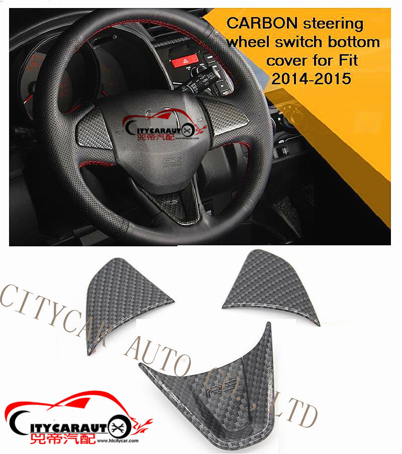 CITYCARAUTO car interior parts carbon steering wheels cover sticker for Jazz FIT car 2014 2015