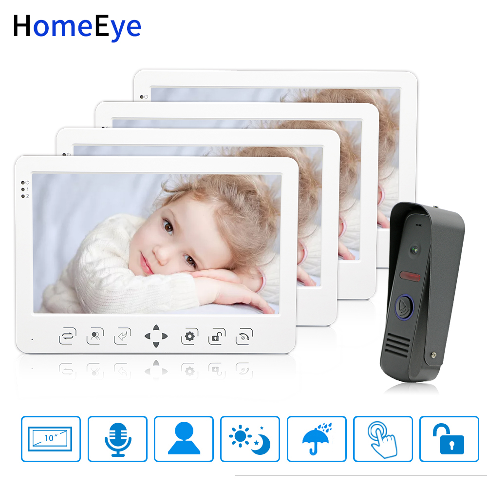 HomeEye 10 Inch Video Door Phone Video Intercom Doorbell 1-4 Home Access System Voice Message Rainproof Video Record Unlock Door