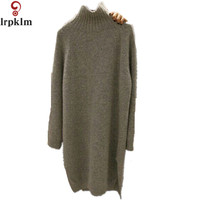 Sueter Mujer 2017 Autumn Winter Fashion Solid Loose Gray Female Loose Sweaters Turtleneck Women Sweaters And